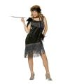 Jaren 20 glamour jurk zwart